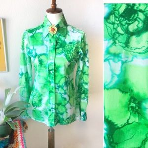 True Vintage💚70s Lime Psychedelic Button Down!